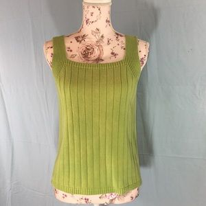 Green cotton sweater tank